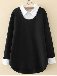 Plus Size Shirt Collar Insert Sweatshirt - BLACK