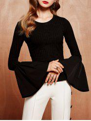 Bell Sleeve Slit T-Shirt With Pocket -