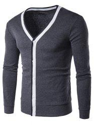 Button Up V Neck Contrast Trim Cardigan - DEEP GRAY