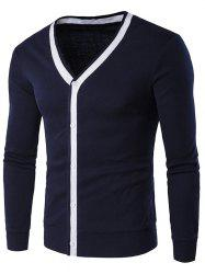 Button Up V Neck Contrast Trim Cardigan - CADETBLUE