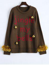 Christmas Decorations Embellished Graphic Sweater - BROWN