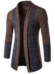 Space Dye Contrast Panel Open Front Cardigan - COFFEE