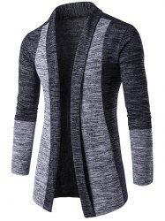 Space Dye Contrast Panel Open Front Cardigan - DEEP GRAY