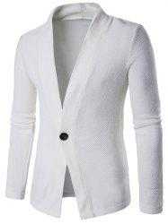 Knitted Texture One Button Cardigan - WHITE 2XL