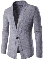 Knitted Texture One Button Cardigan - GRAY