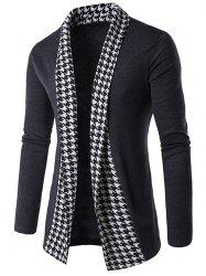 Knitted Houndstooth Open Front Cardigan - GRAY