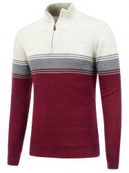 Stand Collar Striped Half Zip Sweater