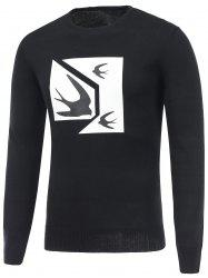 Swallow Print Crew Neck Pullover Sweater