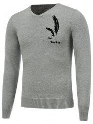 Long Sleeve V Neck Feather Graphic Sweater -