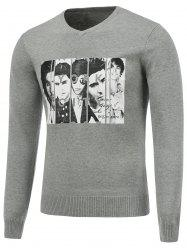 Long Sleeve V Neck Figure Print Sweater - GRAY XL