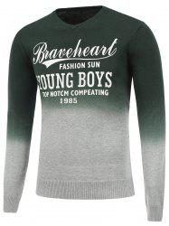 Ombre V Neck Graphic Sweater - DEEP GREEN 2XL
