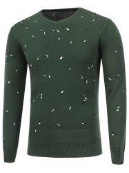 Embroidered V Neck Pullover Sweater - DEEP GREEN 2XL