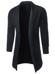Pocket Raglan Sleeve Open Front Cardigan - BLACK