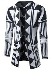 Geometric Pattern Open Front Cardigan - WHITE