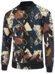 Abstract Print Zip Up Quilted Jacket - CADETBLUE 2XL