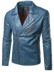 Multi Zipper Epaulet Design Flocking Faux Leather Jacket