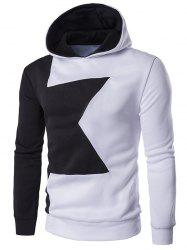 Long Sleeve Two Tone Pullover Hoodie - WHITE 2XL