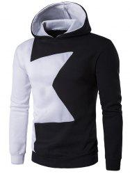 Long Sleeve Two Tone Pullover Black and White Hoodie men