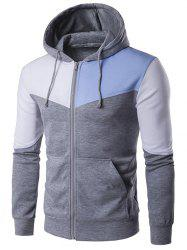 Contrast Panel Pocket Zip Up Hoodie - LIGHT GRAY