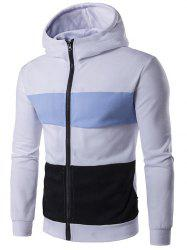 Pocket Zip Up Contrast Panel Hoodie -