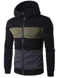 Pocket Zip Up Contrast Panel Hoodie - BLACK