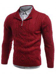 Cable Knit Stand Collar Half Zip Sweater - RED
