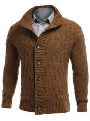 Stand Collar Button Front Basket Weave Cardigan - EARTHY 2XL