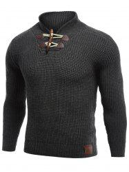 Flat Knitted Pullover Toggle Sweater - BLACK