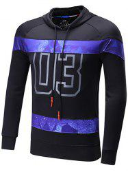 Starry Sky Spliced Number Print Raglan Sleeve Sports Hoodie - BLACK 2XL