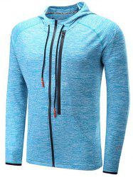Zipper Design X Graphic Raglan Sleeve Sports Hoodie - BLUE
