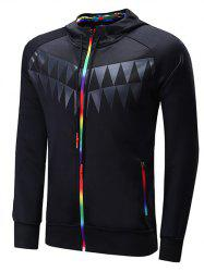 Zipper Design Colorful Edging Raglan Sleeve Sports Hoodie - BLACK
