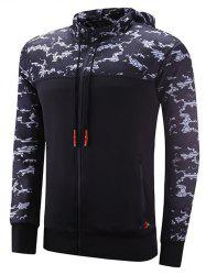 Reversible Style Zipper Design Camouflage Spliced Raglan Sleeve Sports Hoodie - BLACK