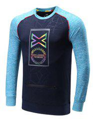 Colorful Edging Graphic Print Raglan Sleeve Sports Sweatshirt