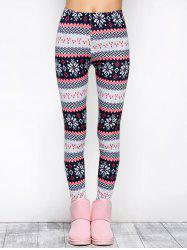 Tight Snowflake Print Christmas Leggings - RED