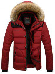 Faux Fur Collar Hooded Plus Size Zip Up Thicken Quilted Jacket