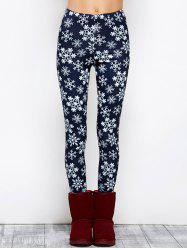 Snowflake Print Stretchy Christmas Leggings - PURPLISH BLUE