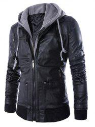 Faux Twinset Hooded Double Zipper PU Leather Jacket - BLACK 2XL