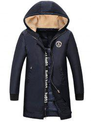 Plus Size Flocking Hooded Graphic Print Insert Lengthen Quilted Coat -