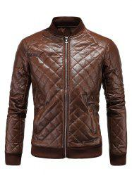 Stand Collar Argyle Zip Up PU Leather Jacket - BROWN