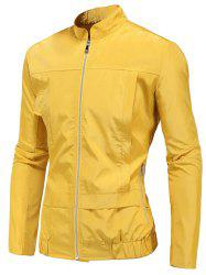 Stand Collar Zip Up Polyester Windbreaker Jacket