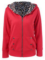 Plus Size Zipper Leopard Pullover Hoodie - RED