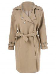 Slit Belted Draped Trench Coat -