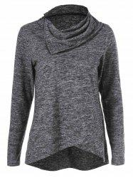 Heather Asymmetrical Hem Tee - GRAY M