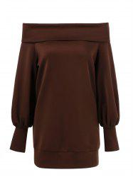Off The Shoulder Lantern Sleeve T-Shirt - BROWN M
