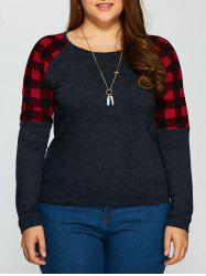 Plus Size Plaid Trim T-Shirt