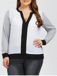 Plus Size Contrast Trim Pockets Design T-Shirt