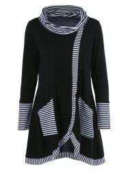 Long Sleeve Plus Size Striped Trim Overlap T-Shirt - BLACK