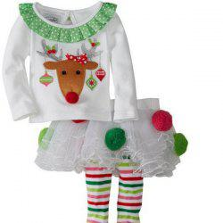 Christmas Elk Pattern Girl Culotte Costume Set - WHITE