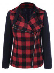 Inclined Zip Plaid Jacket - CHECKED XL