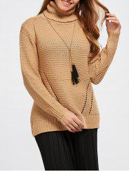 Hollow Out Pullover Roll Neck Sweater - KHAKI ONE SIZE